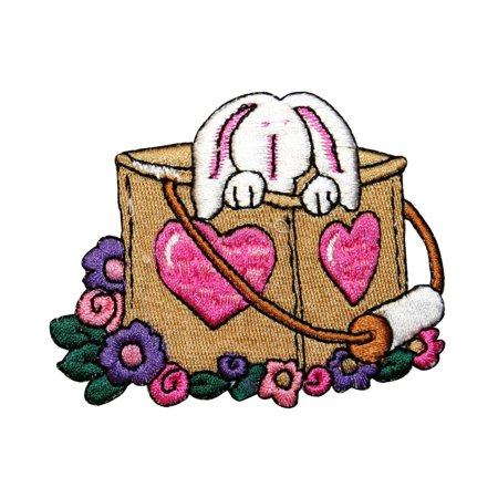 ID 3333 Easter Bunny In Basket Patch Spring Rabbit Embroidered Iron On Applique