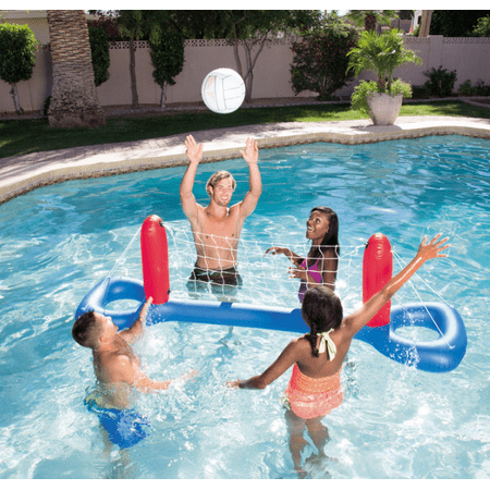 Backyard Fun Outdoor Toys (Moaere Kids Backyard Fun Play Pool Volleyball Game Slide Inflatable Outdoor Pool Fun Swimming Toy with Ball )