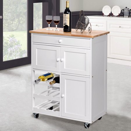 Gymax Modern Rolling Kitchen Cart Trolley Island Storage Cabinet  w/Drawer&Wine Rack