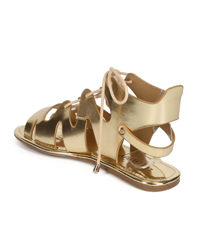 cb13a4757341 Liliana - Liliana ED78 Women Metallic Peep Toe Lace Up Ankle Cutout  Gladiator Sandal - Walmart.com