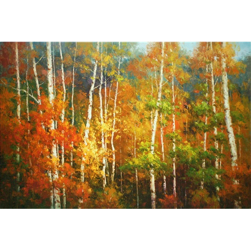 North American Art Aspen Road by Roger DeCamp Painting Print on Wrapped Canvas