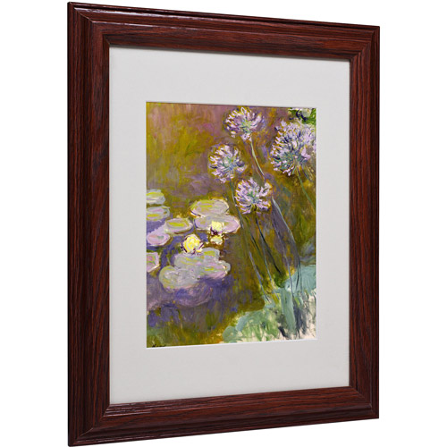 "Trademark Fine Art ""Waterlilies and Agapanthus"" Matted Framed Canvas Art by Claude Monet"