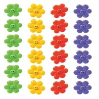 Smile Face Flower Rings - Pack Of 24 - 1.25 Inches Assorted Colors - For Kids, Great Party Favors, Bag Stuffers, Fun, Toy, Gift, Prize, Piñata Fillers - By Kidsco