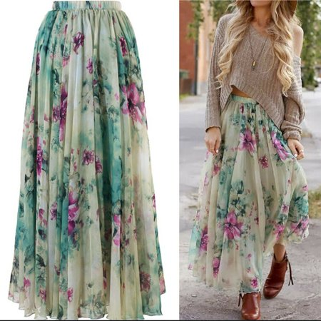 Yellow Chiffon Kameez (Fashion Women Boho Chiffon Ladies Floral Gypsy Long Maxi Full Skirt Sundress Green Size S)