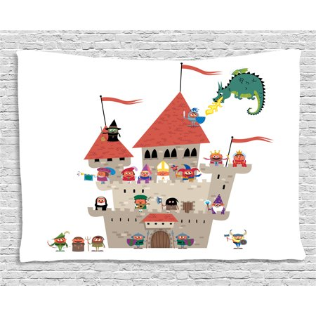 Fantasy Tapestry, Cartoon Kingdom with All Noble Fairytale Characters and a Dragon Spitting Fire, Wall Hanging for Bedroom Living Room Dorm Decor, 60W X 40L Inches, Multicolor, by