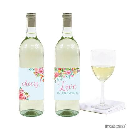 Wedding Pink Roses English Tea Party, 20-Pack Wine or Cider Bottle - Wedding Wine Bottle Labels