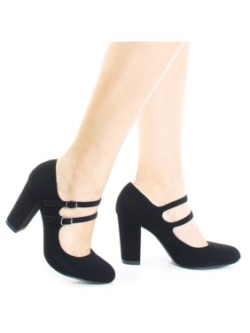 Curt by City Classified, Comfortable Foam Padded Block Heel Round Toe Dress Pump w Ankle Strap