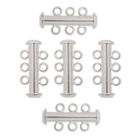 10 Pack Multi 3 Strand Slide Lock Clasps Silver Plated Brass 3 Strand Hook Clasp