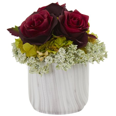 Rosa Marble - Nearly Natural Rose and Hydrangea Artificial Arrangement in Marble Finished Vase