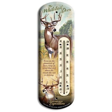 Whitetail Deer   Brand Back Porch Indoor Outdoor Wildlife Thermometer  Fahrenheit And Celsius Increments By American Expedition