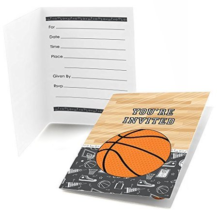 Nothin' But Net - Basketball - Fill In Baby Shower or Birthday Invitations (8 count)