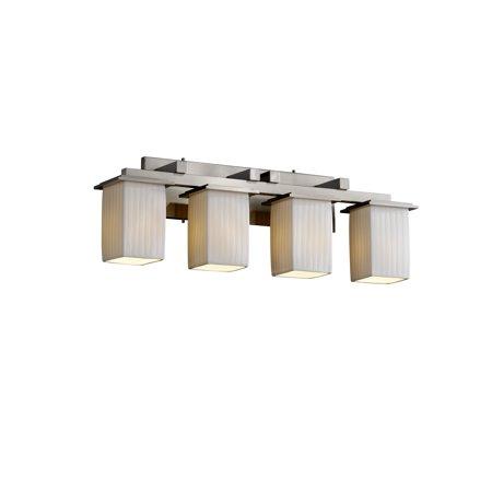 Justice Designs Limoges Montana 4-LT Bath Bar - Brushed Nickel - POR-8674-15-WFAL-NCKL