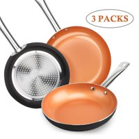 SHINEURI Nonstick Ceramic Copper Pan Set - 8/9.5/11 inch, Frying Pan Set, Fry Pan Set with Induction Base & Stainless Steel Handle, Suitable for Cooking Saute Vegetables, Steaks ( Dark )