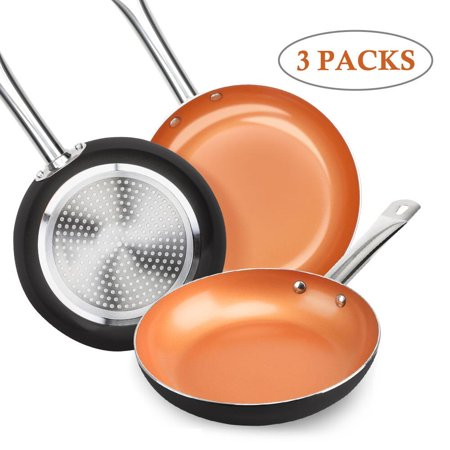 SHINEURI Nonstick Ceramic Copper Pan Set - 8/9.5/11 inch, Frying Pan Set, Fry Pan Set with Induction Base & Stainless Steel Handle, Suitable for Cooking Saute Vegetables, Steaks ( Dark