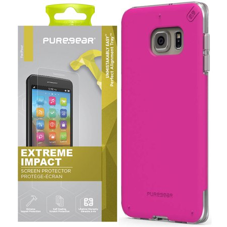 Puregear Horizontal Soft Case - Galaxy S6 Edge Plus Case Combo, PureGear Dualtek Pro Anti-Shock Cover + Puretek Roll-On Screen Protector for Samsung Galaxy S6 Edge Plus + (SM-G928)
