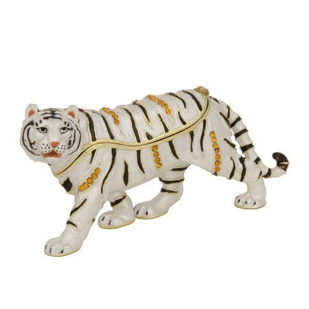 Luxury Giftware by Jere White Bengal Tiger Pewter, Enamel and Swarovski Crystals Trinket Box
