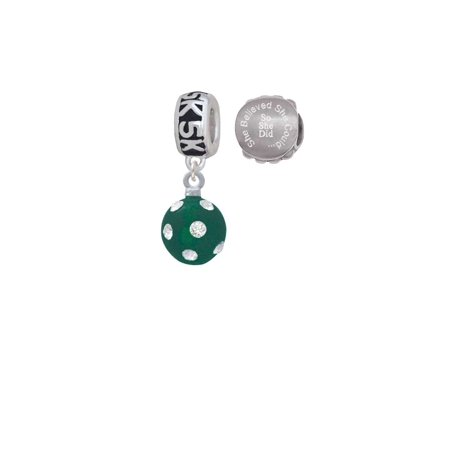 Silvertone 3-D Frosted Green Resin Ornament with Crystals 5K Run She Believed She Could Charm Beads (Set of 2)