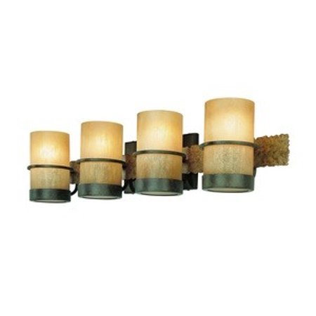 Troy Lighting-B1844BB-Bamboo - Four Light Bath Vanity Bamboo Bronze Finish with Bamboo Glass