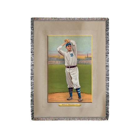 Dover Blanket - Brooklyn Dodgers - George Bell - Baseball Card (60x80 Woven Chenille Yarn Blanket)