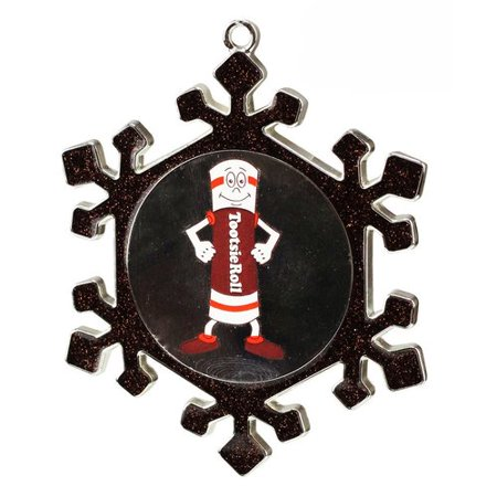 Northlight Seasonal Snowflake Tootsie Roll Man Candy Logo Christmas Ornament with European Crystal