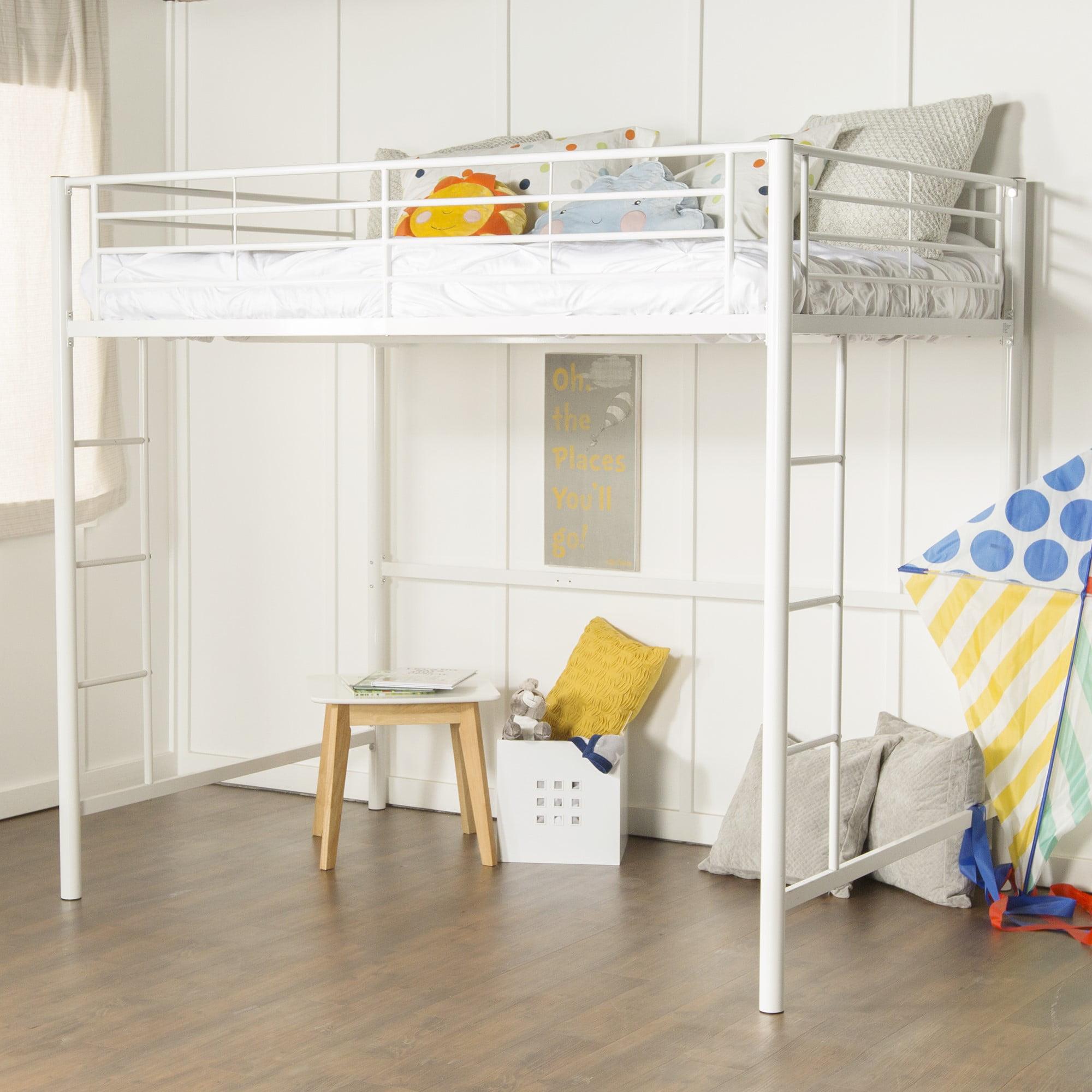 Walker Edison Full Size Premium Metal Loft Bed White Walmart Com Walmart Com