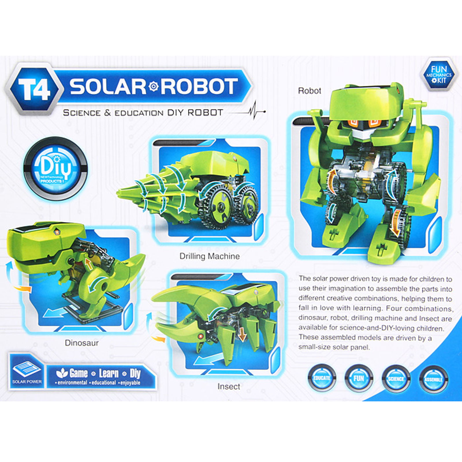 T4 Solar Dinosaur Robot DIY Educational Science ReNewable Energy in Retail Box by