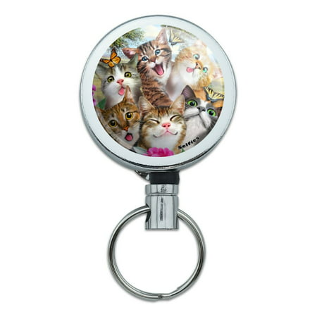 Cats and Butterflies Selfie Heavy Duty Metal Retractable Reel ID Badge Key Card Tag Holder with Belt Clip
