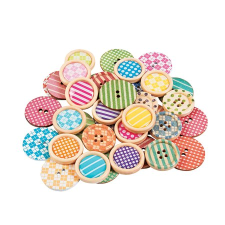 Buttons Supply (Fun Express - Patterned Shaped Wood Buttons - Craft Supplies - Scrapbooking Embellishments - Misc Scrapbooking Embellishments - 36 Pieces )