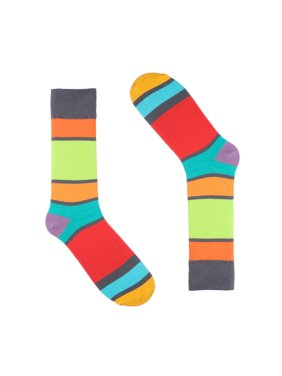 2fd140582855 Product Image Ivory + Mason - Striped Dress Socks for Men - Grey Colorful -  Cotton - Size