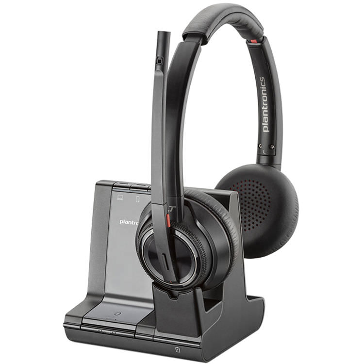 Savi W8220 Wireless Bluetooth/DECT 6.0 32mm Stereo Headset - Over-the-head - Supra-aural - Black
