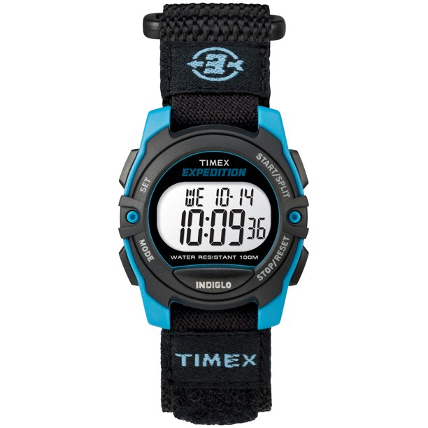 Unisex Expedition Mid-Size Digital CAT Black/Blue Watch, Fast Wrap Strap
