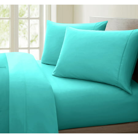 Luxurious Collection 1000 Thread Count 100% Cotton Sheet Set (Twin, Aqua) (Peanuts Sheets Twin)