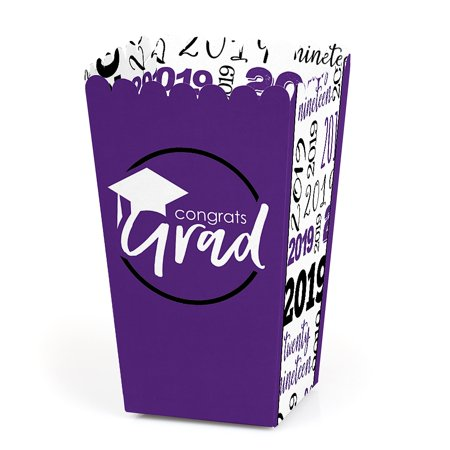 Purple Grad - Best is Yet to Come - 2019 Graduation Party Favor Popcorn Treat Boxes - Set of