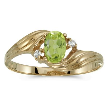 14k Yellow Gold Oval Peridot And Diamond Ring
