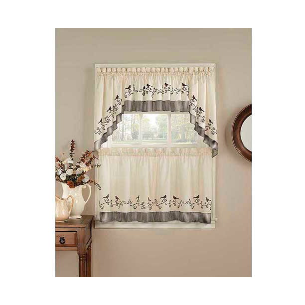 Chf You Birds Tailored Kitchen Curtains Set Of 2 Walmart Com Walmart Com