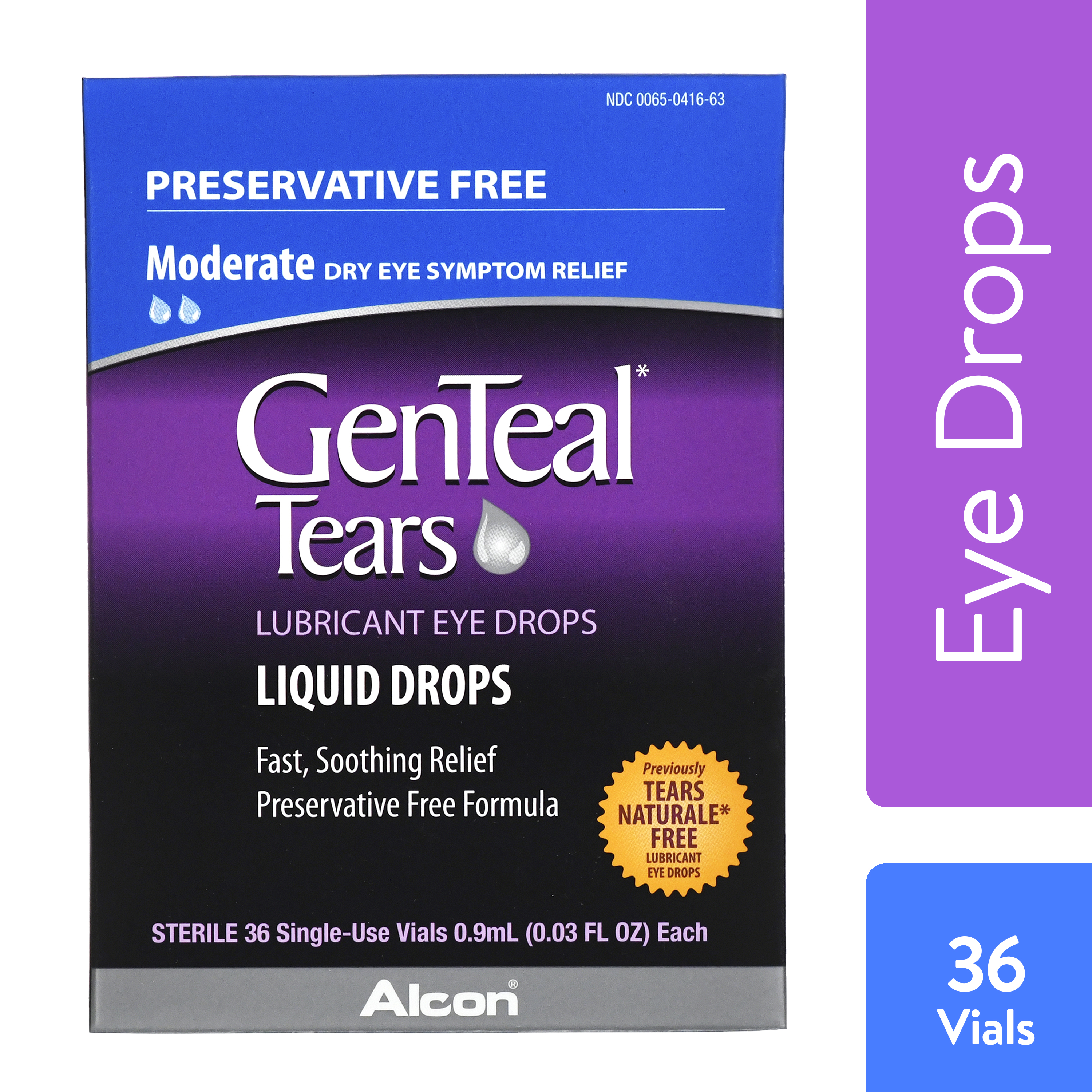 GENTEAL Tears Moderate Preservative Free Lubricant Eye Drops for Dry Eye Symptom Relief, 36 ct.