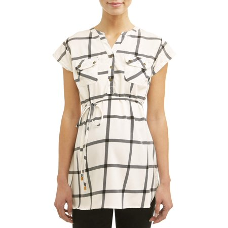 - Maternity Short Sleeve Plaid Top - Available in Plus Sizes