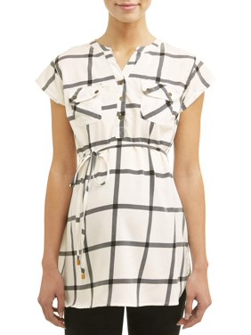 Oh! MammaMaternity short sleeve plaid top - available in plus sizes