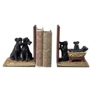 2-Pc Puppies in A Basket Bookend Set