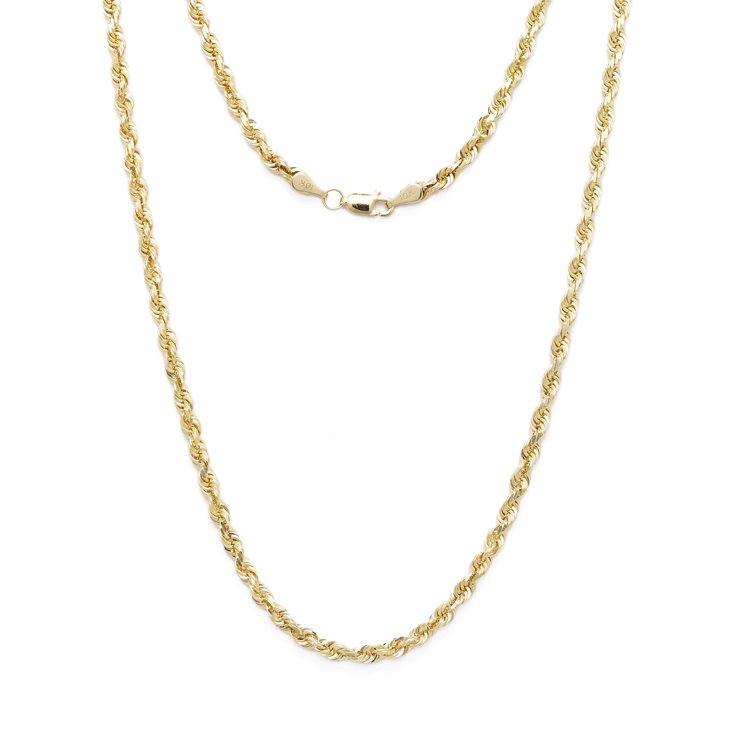 10k Yellow Gold Solid Diamond Cut Rope Chain Necklace wit...