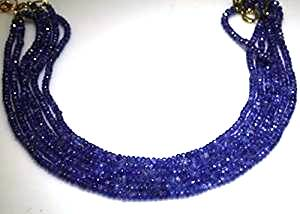 """Tanzanite Necklaces 6 Strands Tanzanite Beads Beaded Necklace 17"""" Long by Gino"""