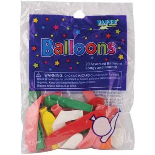 Balloon Long & Round Assortment 20/Pkg-Assorted Colors