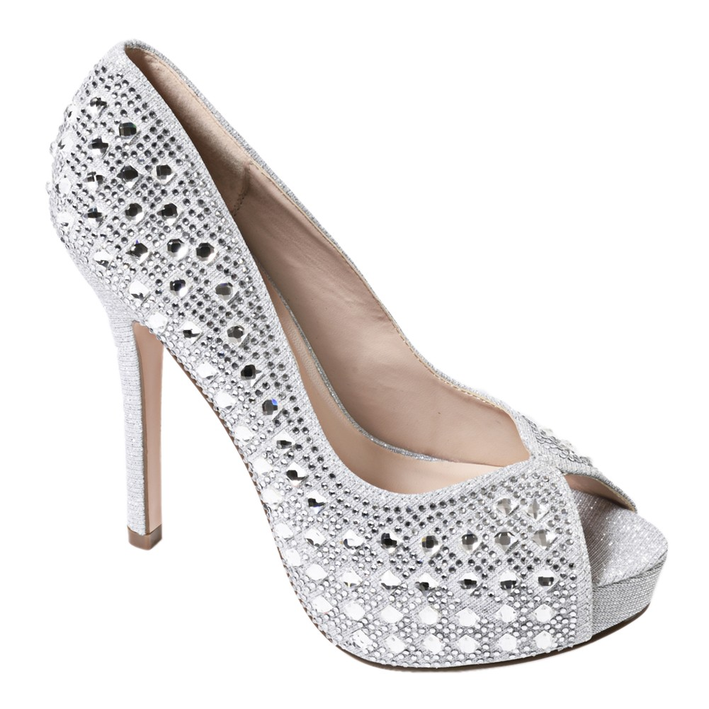 Sweetie's Shoes Silver Open Toe Special Occasion Cinderella Pumps 5.5-11 Womens