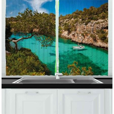 Nature Curtains 2 Panels Set, Small Yacht Floating in Sea Majorca Spain Rocky Hills Forest Trees Scenic View, Window Drapes for Living Room Bedroom, 55W X 39L Inches, Green Aqua
