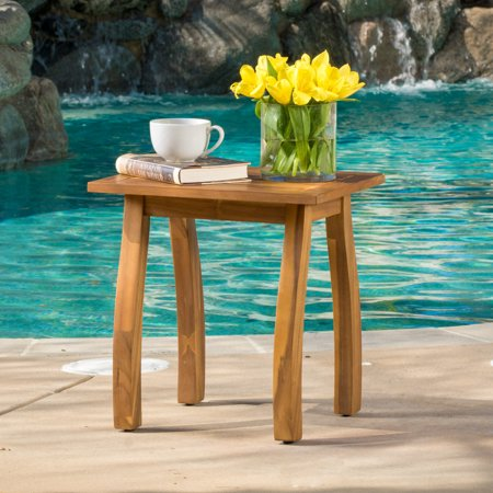 Amarante Outdoor Acacia Accent Table, Teak Finish