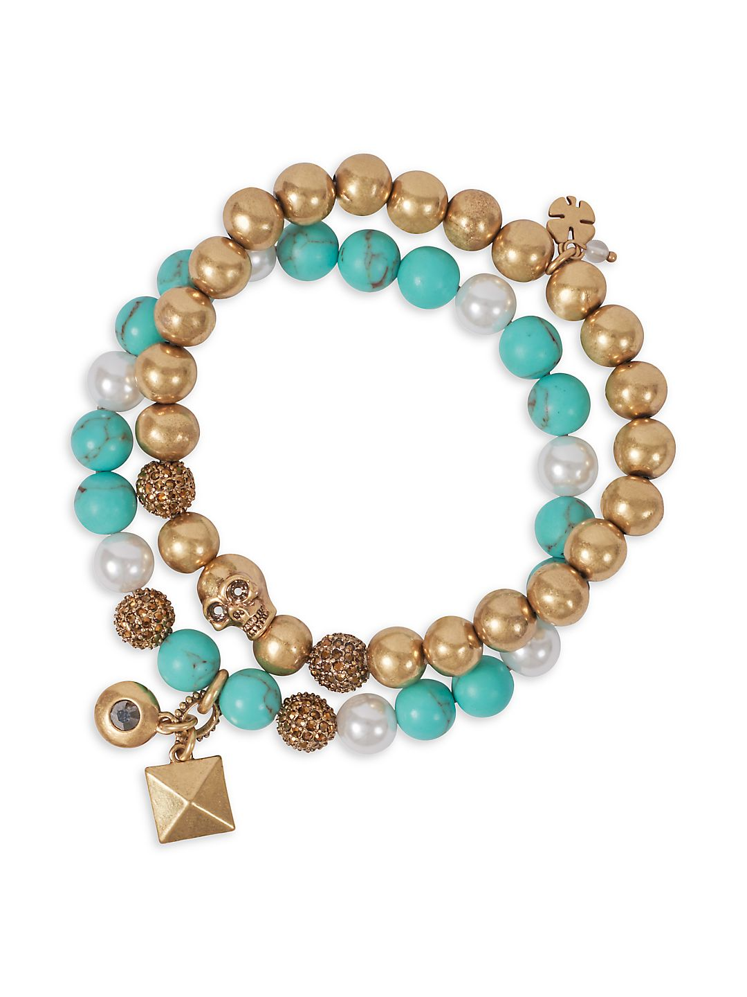 Goldtone and Turquoise Stretch Bracelet