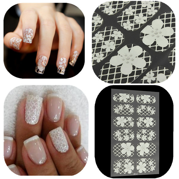 DANCINGNAL 5Pcs White 3D Lace Design Nail Art  Manicure Tips Sticker Decal Wraps DIY Decoration