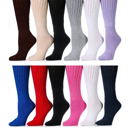 12 Pairs Of excell Womens Assorted Color Super Slouch Socks Cotton Blend, - 80s Slouch Socks