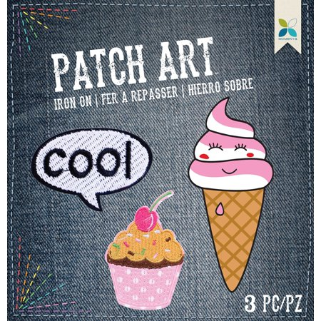 Cool; Cupcake & Ice Cream 3/Pkg - Momenta Iron On Embroidered - Embroidered Cupcake