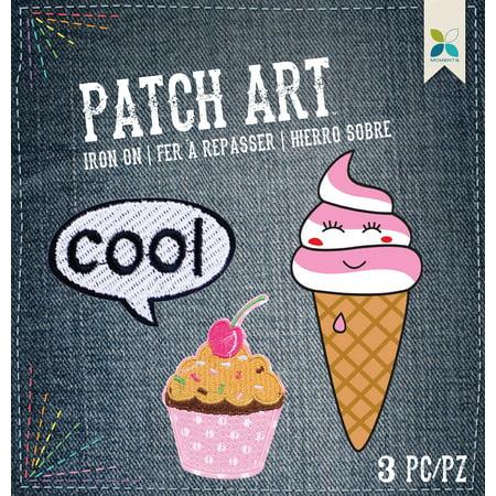 Cool; Cupcake & Ice Cream 3/Pkg - Momenta Iron On Embroidered Applique